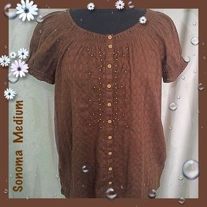 Sonoma Chocolate Brown Cotton Blouse Medium